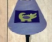 Alligator lamp shade, alligator nursery, alligator madras, nursery lampshade, nursery decor, navy and white stripes, nursery lighting,