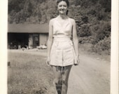 Vintage Photo, Woman in SunSuit, Country Road, Black and White Photo, Snapshot, Old Photo, Found Photo, Vernacular Photo   AUGUSTINE1433