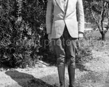 Vintage Photo, Gentleman, Dapper Man, Knee High Boots, Black & White Photo, Old Photo, Vernacular Photo                133215-Ph-6-047