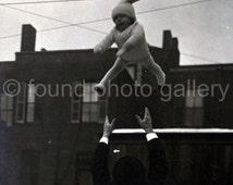 Instant Download, Vintage Photo, Black and White Photo, Baby Tossed in Air by Man, Old Photo, Found Photo                 133215-Ph-Boys-098
