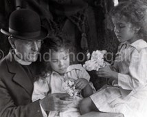 Instant Download, Clergyman, Twin Girls holding Flowers, Vintage Photo, Black & White Photo, Printable       133215-Ph-Curly Haired Girl-007