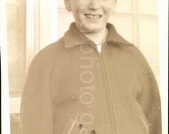 Vintage Photo, Teenage Boy in Cap, Black & White Photo, Old Photo, Found Photo, Vernacular Photo, 1940's, Snapshot, Childhood