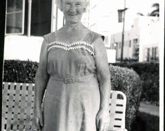 Vintage Photo, Older Woman in Backyard, Black & White Photo, Summer Dress, Found Photo, Vernacular Photo, Miami Beach *AUGUSTINE1326