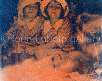 Digital Download, Vintage Photo, Tinted Photo, Twin Girls by Camp Fire, Printable, Old Photo, Found Photo, Antique Photo
