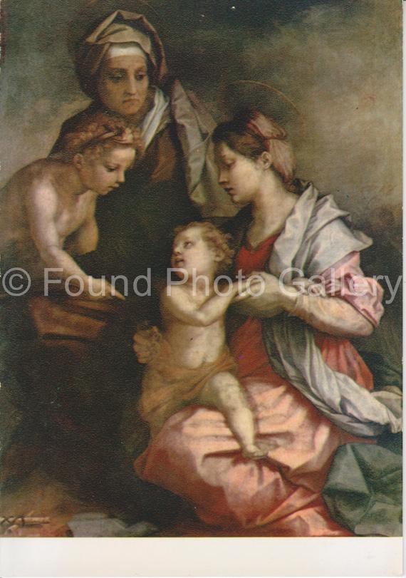 Vintage Postcard Sacred Family Pitti Palace Florence Italy