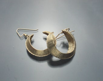 Fold-formed NuGold Brass Hoop Earrings