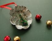 Vintage Tart Tin Ornament w Bottle Brush Tree