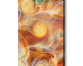 SOLARA Mirror Wrapped Edge Frameless Giclee Print Ready To Hang Sunny Yellow Jubilant Art Abstract Glass Photography