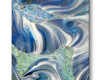 ARCTIC #2 Square Metal Print Ready To Hang Blue and White Jubilant Art Abstract Glass Photography Free Shipping