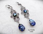 Bue Opal Victorian Earrings, Pacific Blue Opal Vintage Jewel Earrings, Victorian Jewelry