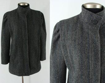 Vintage Eighties Coat - 1980s Wool Coat - 80s Avant Garde Jacket - Structured Wool Coat