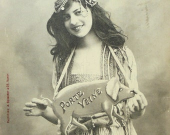 French Bergeret Postcard - Girl with a Pig 'Bringing Luck'