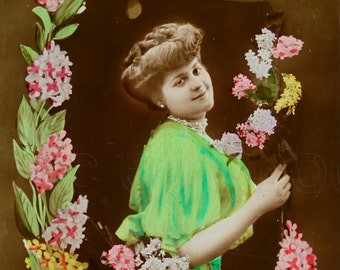 Vintage French Postcard - Woman with Flowers