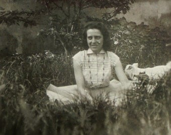 French Vintage Photograph - Woman Sat in the Grass with a Dog