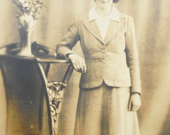 Vintage Photograph - Woman Standing Wearing a Suit