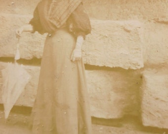 French Antique Photograph - Woman Stood Outside with a Parasol