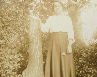 Vintage Photograph - Young Woman Stood by a Tree Stump
