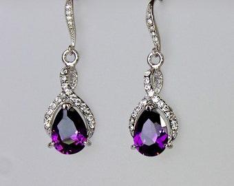 Purple Earrings, Amethyst Bridal Earrings, Crystal Teardrop Earrings, Amethyst Earrings, Wedding Earrings, RIBBON TWIRL