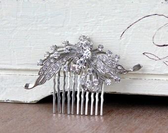 Crystal Hair Comb, Wedding Hair Comb, Crystal Bridal Hair Piece, Bridal Hair Clip, ROSE