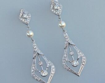 ON SALE Crystal Chandelier Earrings, Crystal Bridal Earrings, Long Crystal Earrings, Bridal Jewelry, ANGEL