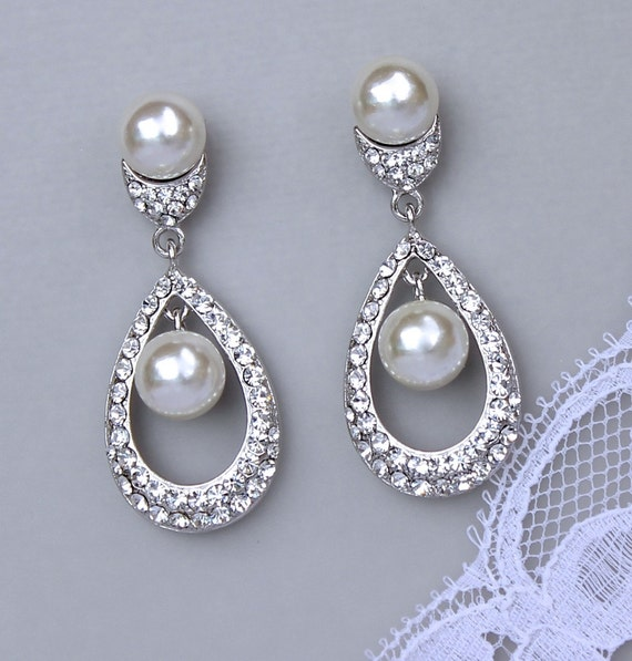 Teardrop Bridal Earrings, Crystal & Pearl Chandelier Earrings,  Bridal Jewelry, Wedding Jewelry, Wedding Earrings, MOLLY