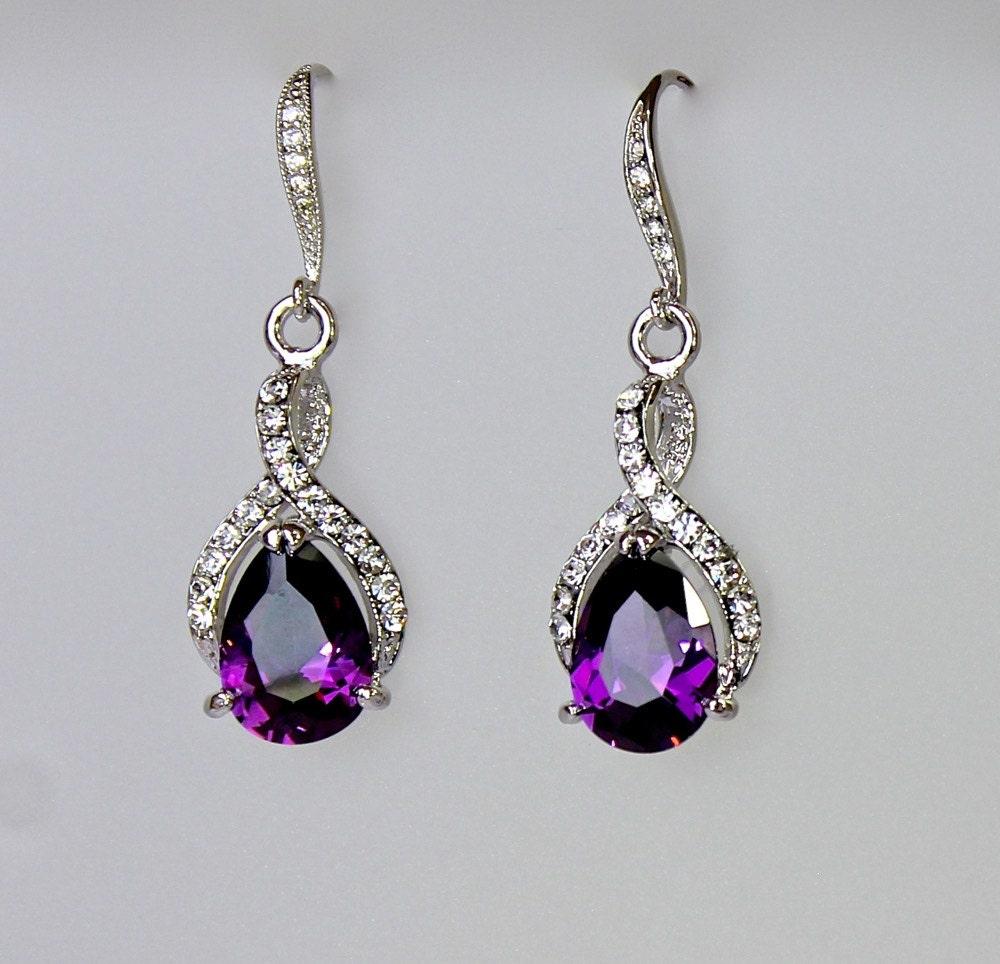 purple earrings amethyst bridal earrings teardrop