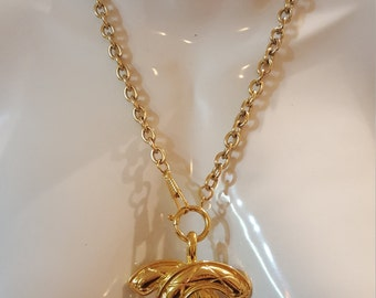 Huge Authentic Chanel Quilted CC Logo Pendant Necklace