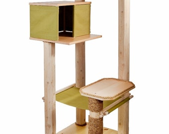 Wood Cat Tree - Cat Tree House & Hammock - Cat Tower -Ships Free