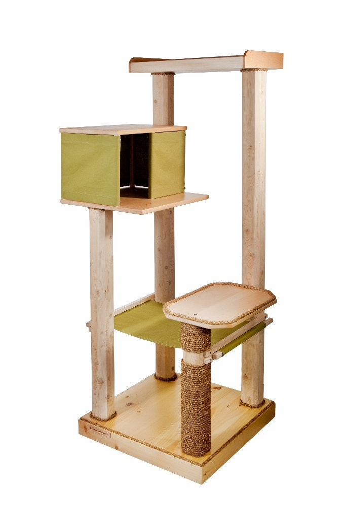 Wood cat tree cat tree house hammock cat tower for Cat tower with hammock