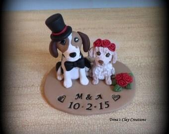 Wedding Cake Topper, Custom Cake Topper, Puppy Cake Topper, Dog, Polymer Clay, Keepsake, Beagle, Lab