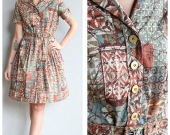 1950s Dress // Mosaic Day Dress // vintage 50s dress