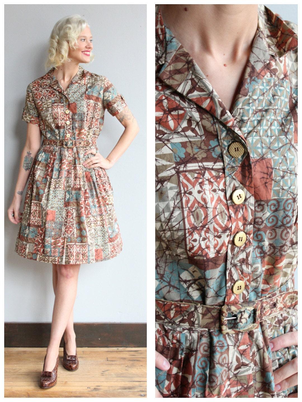 1950er Jahre Kleid Havanna Vintage