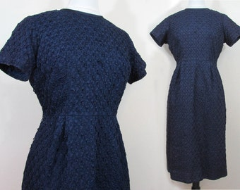 High Waisted Ribbon dress in navy blue - 60s slim cut  - Taffeta & satin - M-L