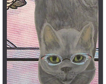 Gray Cat Art Print- Russian Blue Cat in Cat Eye Glasses Artwork