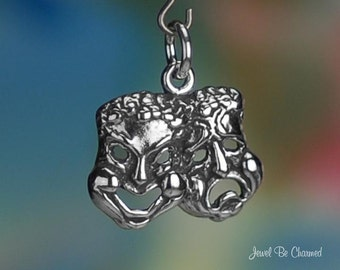 Sterling Silver Comedy and Tragedy Drama Masks Charm Theater Solid 925