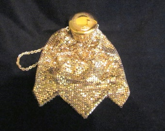 Vintage Gate Top Purse Whiting And Davis Beggars Bag 1920s Accordian Purse Antique Purse Gold Mesh Gatetop EXCELLENT CONDITION