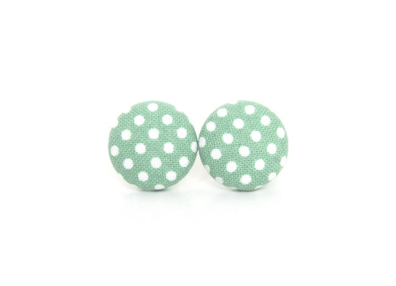 Small pastel green earrings - light green polka dots button earrings - fabric stud earrings