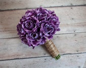 Lavender Rose and Twine Rustic Silk Wedding Bouquet