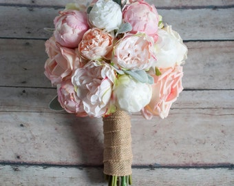 peach ivory and blush peony and garden rose wedding bouquet with lambs ear and burlap wrap