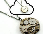 Personalised Steampunk necklace, Custom Watch Necklace, Sterling Silver, Oxidised Silver, Watch Movement Pendant