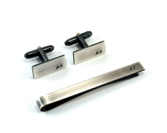 Monogram Cuff Links, Tie Bar, Groomsmen Gift, Men's Accessories Gift Set, Sterling Silver
