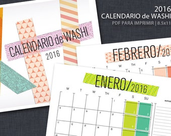 2016 IMPRIMIBLE Calendario de Washi Tape - SPANISH Calendar