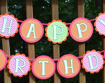 Little Pumpkin Birthday Banner Happy Birthday Banner Pink Orange Green 1st Birthday Banner Halloween Birthday Party Decoration READY TO SHIP