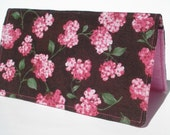 Checkbook Cover, Pink Azaleas, Pink Hearts, Chocolate Brown, Fall Accessories, Wallet, Gift for Her, Gift Under 15, Checkbook Holder