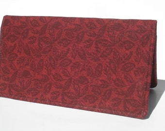 Women's Checkbook Cover- Fabric Checkbook Cover- Gift For Her- Crimson- Fall Accessories- Gift Under 15- Checkbook Holder For Women