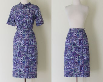 vintage 1950s  novelty print blouse and skirt set / 50s Peerless of Boston Sportswear purple and blue mosaic top two piece outfit / S