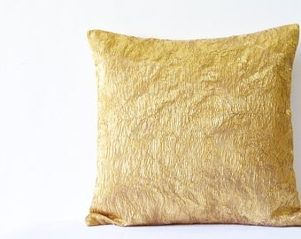Oh So Gold Pleated Metallic Pillow Cover , Fused Pleat Gold Cushion , Gold Decorative Pillow , Throw Pillow, Cushion Cover , Christmas Decor