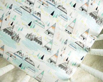 Fitted Crib Sheet - Teepees and Foxes in Pine
