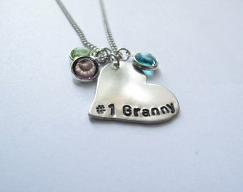 Grandmother Necklace // #1 Granny Necklace // Silver Grandma Necklace // Grandkids Necklace // Love, FamilyJewelry