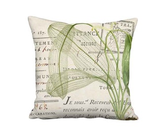 Madagascar Lace Green Botanical Pillow Cover - 16x 18x 20x 22x 24x 26x 28x Inch Linen Cotton Pillow - Neutral Cottage Cushion Cover